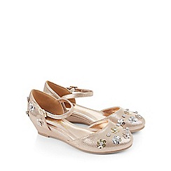 Monsoon - Gold 2-part sequin flower wedge