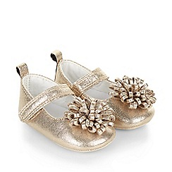 Monsoon - Gold Baby pom pom bootie