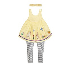 Monsoon - Baby girls' yellow lola border set with headband