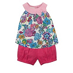 Monsoon - Baby girls' pink paradissa top & shorts set