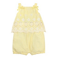 Monsoon - Baby girls' yellow ella stripe playsuit
