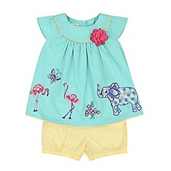 Monsoon - Baby girls' blue olive embroidered top & shorts set