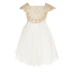 Monsoon - Baby girls' gold estella sparkle dress