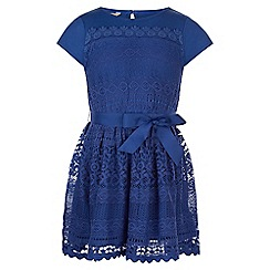Monsoon - Blue Lianna lace jersey dress