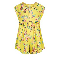 Monsoon - Girls' yellow yuki floral playsuit
