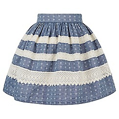Monsoon - Blue Missumi chambray lace skirt