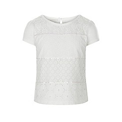 Monsoon - Girls' white Lettie lace tee