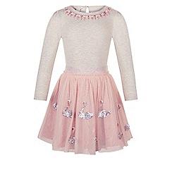 Monsoon - Girls' pink disco sparkle swan dress