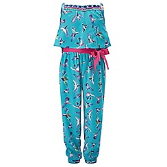 Monsoon - Girls' Blue Fern bird print jumpsuit