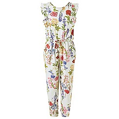 Monsoon - Girls' white Delilah floral print jumpsuit