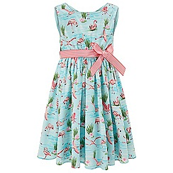 Monsoon - Girls' blue Fionula flamingo dress