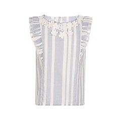 Monsoon - Girls' blue celia woven stripe top