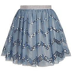 Monsoon - Girls' blue disco chevron sequin skirt