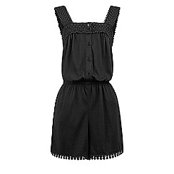 Monsoon - Girls' black Ipanema crochet playsuit