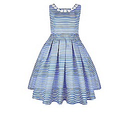 Monsoon - Girls' blue Neola stripe dress