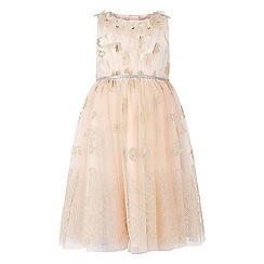 Monsoon - Girls' gold Lyonesse flower dress