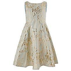Monsoon - Girls' blue Palace jacquard dress