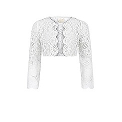 Monsoon - Girls' white Mira lace jacket