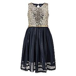 Monsoon - Girls' blue Maria sequin dress