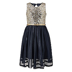 Monsoon - Girls' blue Maria sequin dress