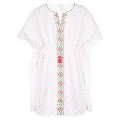 Monsoon - White Eliza embroidered kaftan
