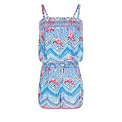 Monsoon - Girls' blue flamingo tribal print playsuit