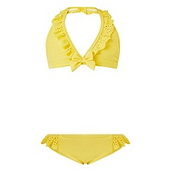 Monsoon - Girls' yellow florence frill bikini