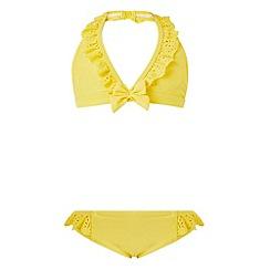 Monsoon - Girls' yellow florence frill bikini