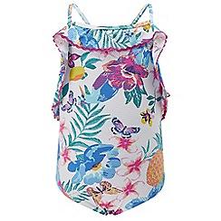 Monsoon - Girls' White Paradiso frill swimsuit