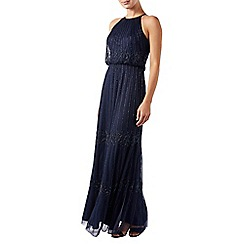 Monsoon - Blue embellished 'Buttercup' halterneck maxi dress