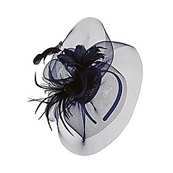 Monsoon - Blue 'Anne' feather flower crin fascinator