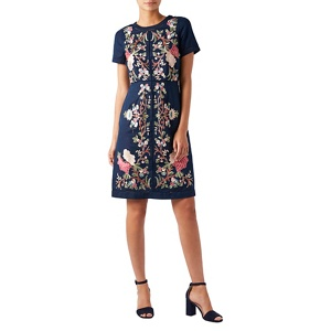 Monsoon Blue linen and cotton blend  'Lilou' knee length shift dress