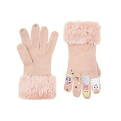 Monsoon - Girls' pink 'once upon a time' princess novelty gloves