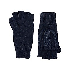 Monsoon - Girls' blue sparkle cable butterfly capped gloves