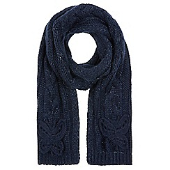 Monsoon - Girls' blue sparkle cable butterfly scarf