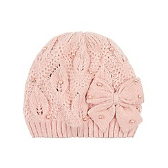 Monsoon - Girls' pink pearl bow beanie hat