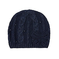 Monsoon - Girls' blue sparkle cable butterfly beanie hat