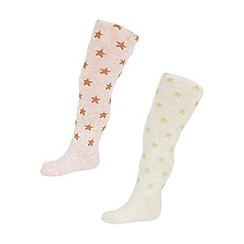 Monsoon - Baby girls' multicoloured 2 pack mini spot tights