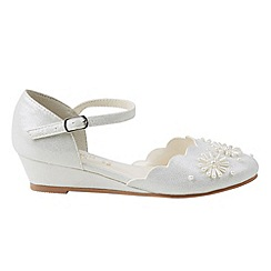 Monsoon - Girls' white 2 part scallop beaded wedge