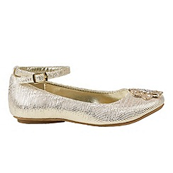 Monsoon - Girls' gold vintage diamante flower ballerina