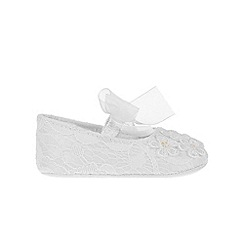 Monsoon - Baby girls' white lace daisy ivory booties