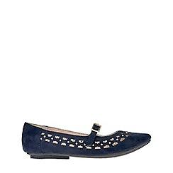 Monsoon - Girls' blue Flower cutwork ballerina shoes