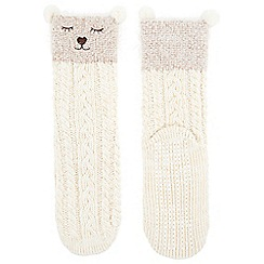 Monsoon - Girls' white sleepy bear slipper socks