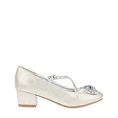 Monsoon - Girls' silver Diamond Bow Embellished Jive Shoes