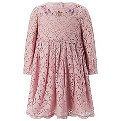 Monsoon - Baby girls' pink 'aria' lace dress