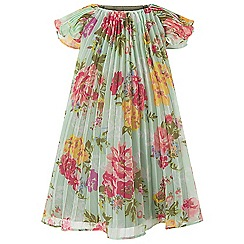 Monsoon - Baby girls' green Floressa Pleated Dress