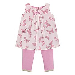 Monsoon - Baby girls' pink flutter top & leggings set