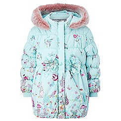 Monsoon - Baby girls' blue 'appleby' border coat