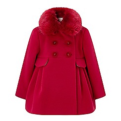 Monsoon - Baby girls' red 'ruthy' red faux fur coat