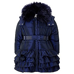 Monsoon - Baby girls' blue Navy Molly Padded Coat